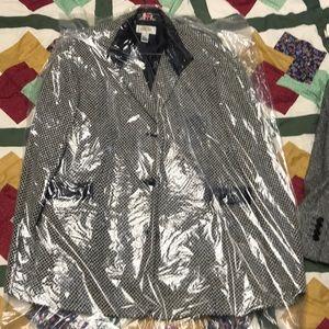 Black and white zig-zag striped pea coat
